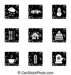 Winter holidays icons set, grunge style