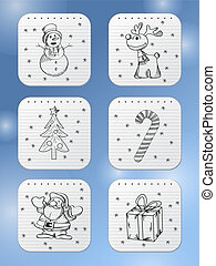 Winter holidays icons
