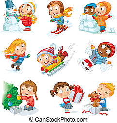 Winter holidays. Little girl sculpts snowman, skating, skiing, sledding, dresses up Christmas tree, boy received a gift of a puppy, makes a snow angel, children playing in snowballs, vector set