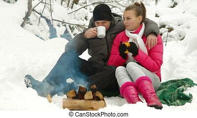 Winter Holidays Near Bonfire