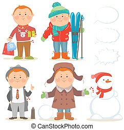 Winter holidays set of cartoon men