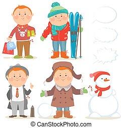 Winter holidays set of cartoon men