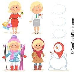 Winter holidays set of cartoon women