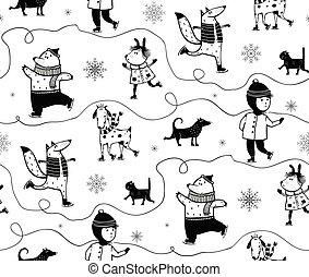 Winter Holidays Skiing Animals and Kid