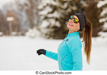 Lady spending free time in park. - Winter holidays, sporty ...