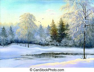 winter, holz