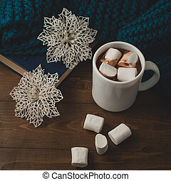 winter home background - cup of hot cocoa Christmas and snowflakes