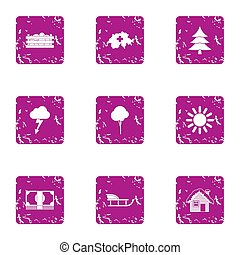 Winter homeplace icons set, grunge style
