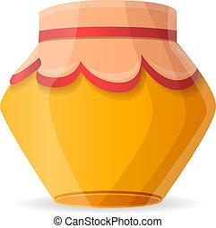 Winter honey jar icon, cartoon style