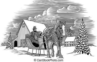 Winter Horse Sleigh Scene