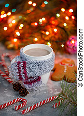 Winter hot drink christmas background. Holiday cocoa cup home gingerbread cookie on a table. Xmas beverages concept. New year cocoa advertisement design.
