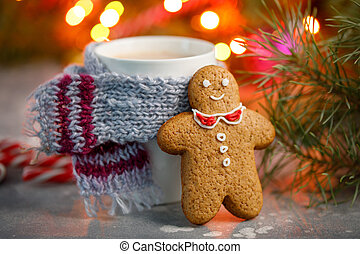 Winter hot drink christmas background. Holiday cocoa cup home gingerbread cookie on a table. Xmas beverages concept. New year cocoa advertisement design. New Year's still life.