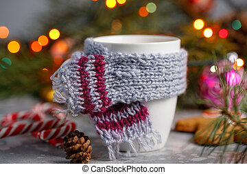 Winter hot drink christmas background. Holiday cocoa cup home gingerbread cookie on a table. Xmas beverages concept. New year cocoa advertisement design. Happy New Year.