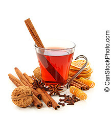 Winter hot drink with spices isolated on white background