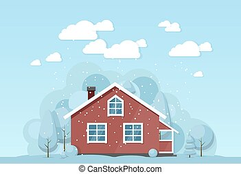 Winter house facade. Traditional cottage. Vector...