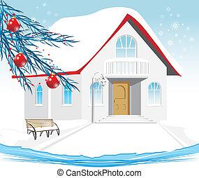Winter house. Festive composition