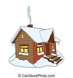 Winter house. Hand-drawn vector Illustration on white