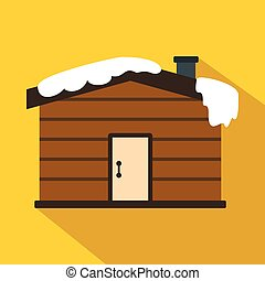 Winter house icon, flat style