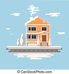 Winter house . Vector image of the orange brick christmas houses covered with snow. Winter background with cartoon houses. Winter time.