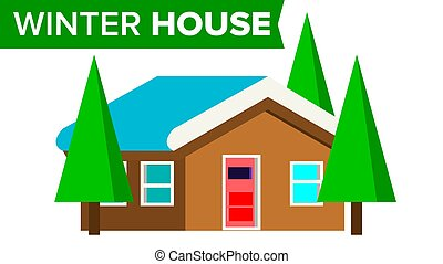 Winter House Vector. Wooden Home With Snow. Forest...