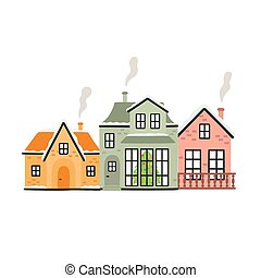 Winter houses with a Christmas tree. Vector illustration isolated