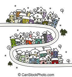 winter, huisen, jouw, ontwerp, cityscape, spotprent, straat