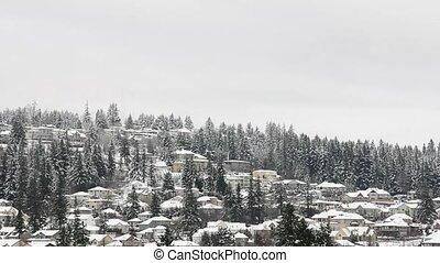 winter, huizen, scène, berg