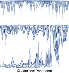 winter icicles - 4 blue color thawing icicles as a symbol of...