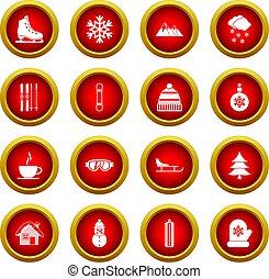 Winter icon red circle set