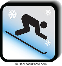 Winter icon vector-downhill