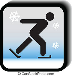 Winter icon vector-Skating