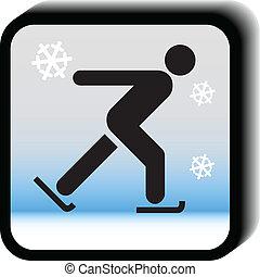 Winter icon vector-Skating