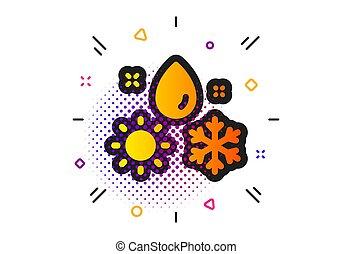 winter, icon., vektor, rain., zeichen., schneeflocke, wetter, sonne