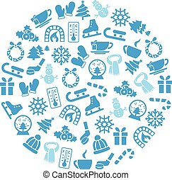 winter icons in circle