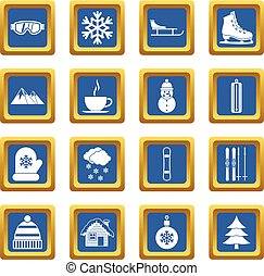 Winter icons set blue