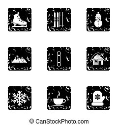 Winter icons set, grunge style