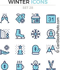 Winter icons. Vector line icons set. Premium quality. Simple thin line design. Modern outline symbols, pictograms