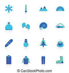 Winter icons with reflect on white background