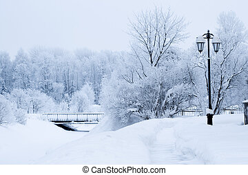 Winter icy street landscape - Winter snow-covered icy street...