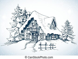 Winter idyllic landscape, pine trees and house in the snow