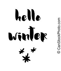 winter, illustratie, calligraphy., vector, hallo, kaart