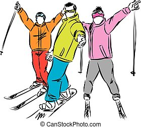 winter, illustratie, snowboard, vector, sportende, ski