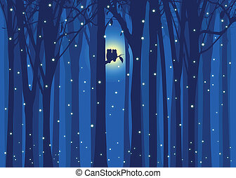 Winter illustration owl in forest