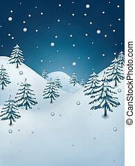 Winter illustration. Snowflakes falling over frozen forest.