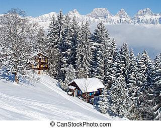 Winter in alps - Winter in swiss alps (Flumserberg, St. ...