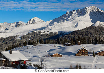 Nice view on the langlauf and golf course in Arosa in December