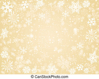 winter in beige - white snowflakes over beige background...