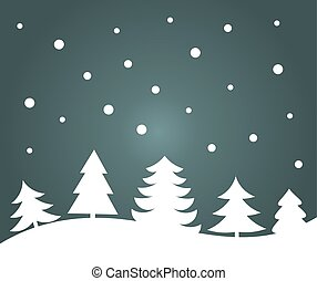 Christmas trees night landscape