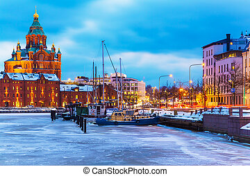 Winter in Helsinki, Finland - Winter evening scenery of the...
