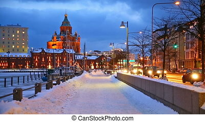 Winter in Helsinki - Winter scenery of the Old Town in...